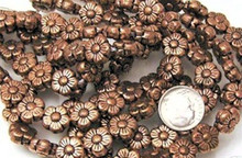 1 Strand Antiqued Copper Double Sided Daisy Flower Beads ~ 10mm *
