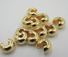 500 Gold Plated Brass 3mm Crimp Covers to Hide Crimps & Knots