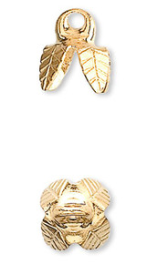 100 Gold Plated Brass 6x5mm Bell Bead Cap ~ 4 Prong Leaf To Fit 6-8mm Bead  ~