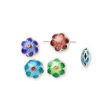 8 Silver Plated Multi Flower Cloisonne Disc Beads ~ 8mm