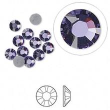 12 Hot Fix Flat Back Round Rhinestone Crystals ~ Tanzanite Purple ~4.7-4.8mm ~ SS20 *