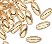 100 Gold Plated Brass Smooth Spacer 2x4mm Oval Beads