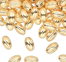 100 Gold Plated Brass 3x5mm Corrugated Spacer Oval Beads