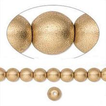 1 Strand Czech Glass Druk Opaque Satin Gold Round Beads ~ 6mm