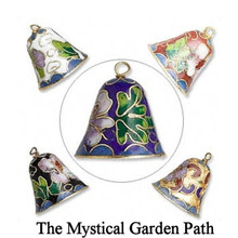 5 Gold Plated Cloisonné Bell Charm Pendant  ~ Approx 18x20mm  *