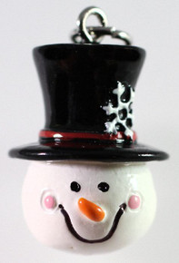 4 Hand Painted 3D Resin Snowman with Snowflake Hat Charms
