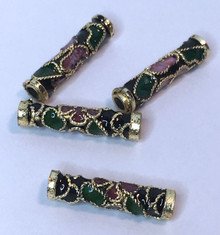 8 Gold Plated Black, Pink & Green Cloisonne Tube Beads ~  16x4mm *