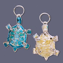2 Gold Plated Small Turquoise Blue Turtle Cloisonne Charms  *
