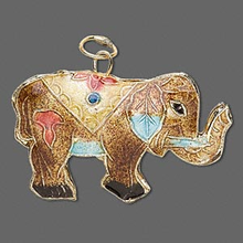 2 Double-Sided Gold Plated Elephant Cloisonne Pendants ~  39x25mm  *