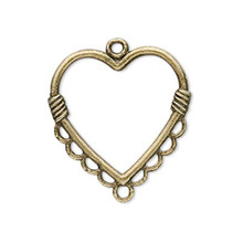 20 Antiqued Brass Heart Connectors  ~ 26x26mm with 9 Loops  *