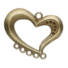 20 Antiqued Brass Focal Swirl Heart with  6 Loops ~ 38x30mm  *