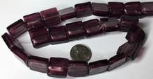 1 Strand Amethyst Purple Lampwork Glass  Square Foil Beads ~ 15mm *