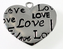 1 Antiqued Silver Plated Pewter 25x21mm HEART with LOVE Charms