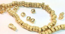 1 Strand Gold Plated Brass Textured Square Beads ~ 5x3mm *