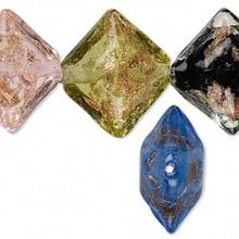 20 Lampwork Glass Multi Color Puffed Flat Diamond Beads ~ 20x23mm *