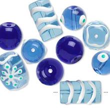 10 Christmas Hand Painted Glass & Epoxy Bead Mix ~ Blue & White