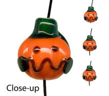 8 Lampwork Glass Jack-O-Lantern Pumpkin Halloween Beads ~ 14x15mm *