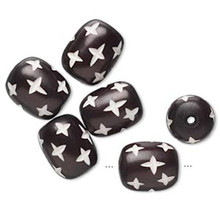 6 Resin Brown & White Carved Oval Star Design Beads ~ 18x14mm *