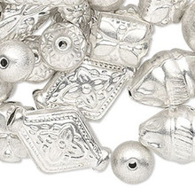 250 Grams Silver Plated Brass Hollow Bead MIX ~ Approximately 285-300 Beads *