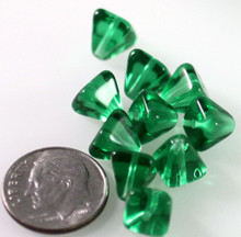 24 Transparent Green Czech Pressed Glass 8x8mm Pyramid Beads ~Angel Body