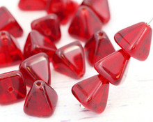 24 Transparent Red Czech Pressed Glass 8x8mm Pyramid Beads ~Angel Body