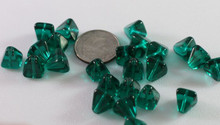 24 Transparent Blue Zircon Czech Pressed Glass 8x8mm Pyramid Beads ~Angel Body *