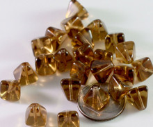 24 Transparent Smoky Topaz Czech Pressed Glass 8x8mm Pyramid Beads ~Angel Body *
