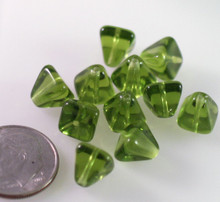 24 Transparent Olivine Green Czech Pressed Glass 8x8mm Pyramid Beads ~Angel Body *