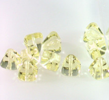 24 Transparent Jonquil Yellow Czech Pressed Glass 8x8mm Pyramid Beads ~Angel Body