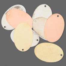 8 Silver, Gold & Copper Plated Brass Oval Blank Disc Charm Drops ~ 30x20mm