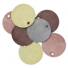8 Earthtone Patina Plated Brass Double Sided Round Blank Charm Drops ~ 15mm
