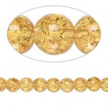 1 Strand Honey Amber Crackle Glass  5-6mm Round Crackle Beads *