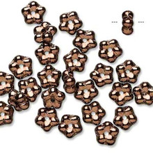 1 Strand Czech Pressed Glass Antique Gold 7x3mm Flower Spacer Beads *