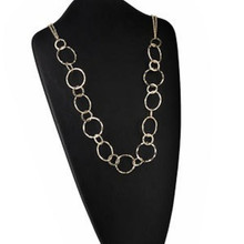 1 Gold Plated Steel Double Hammered Ring Necklace  ~ 34 Inches Long *