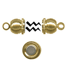12 Gold Plated Brass 6x17mm Double Ball Magnetic Clasps