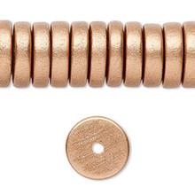 8 Inch Strand Wood Metallic Copper Rondelle Disc Beads   ~ 15x4mm