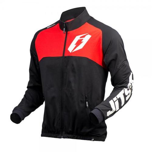 Black/ red kid's trials jacket by Jitsie, Signal design
