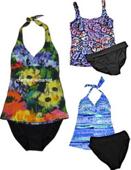 GOTTEX BLUE SLIM LINE FASHION SLIMMING 2 PIECE SWIMSUIT