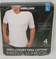 KIRKLAND SIGNATURE 4 PACK MEN'S T-SHIRTS V-Neck PIMA COTTON