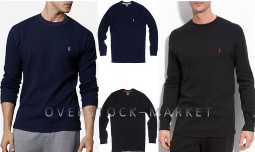 22ba6e08 ... MEN'S POLO RALPH LAUREN SLEEPWEAR WAFFLE KNIT THERMAL SHIRT. Image 1.  Image 1. Navy. Black. Heather Grey. Charcoal Heather. Image 6. See 5 more  pictures