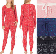 WOMEN'S CAROLE HOCHMAN 2 PIECE THERMAL LONG SLEEVE PAJAMA SET