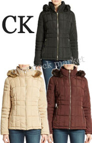 Women's Calvin Klein Faux Fur Trim Hood Quilted Coat