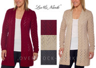 Women's Leo & Nicole Open Front Long Pointelle Cardigan