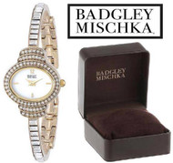 Badgley Mischka BA/1320WMGB Swarovski Crystal Accented Gold Tone Watch