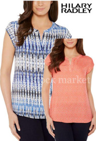 Hilary Radley Printed Short Sleeve Blouse