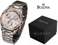 Bulova Womens Diamond Accented Two-Tone Anabar Chronograph Watch 98R149