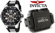 Invicta Speedway Chronograph Black Silicone Stainless Steel Mens Watch 19526