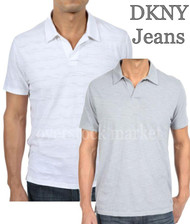 MEN'S DKNY JEANS SLUB PIQUE JOHNNY COLLAR POLO SHIRT