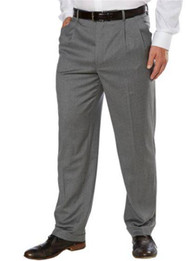 709655-KIRKLAND SIGNATURE GARBADINE WOOL PLEATED FRONT DRESS PANT