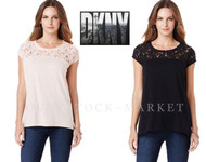 WOMEN'S DKNY JEANS LACE TRIM TOP! SHORT SLEEVE!
